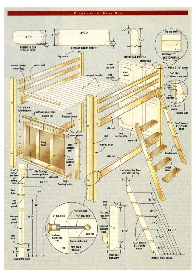 bunk bed with stairs plans free | Project: Bunk bed ...