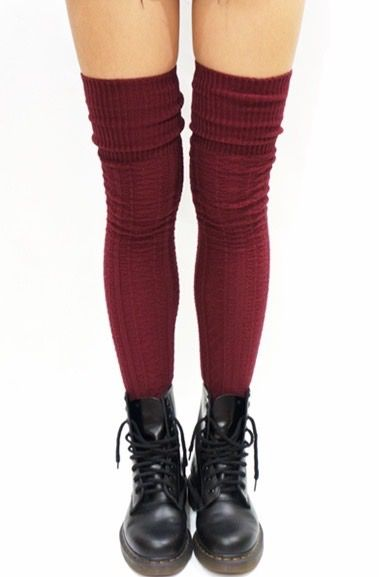 df0223b2e4b34 Cozy Cable Knit Thigh High Socks Boot Socks -Burgundy | Accesoriez ...