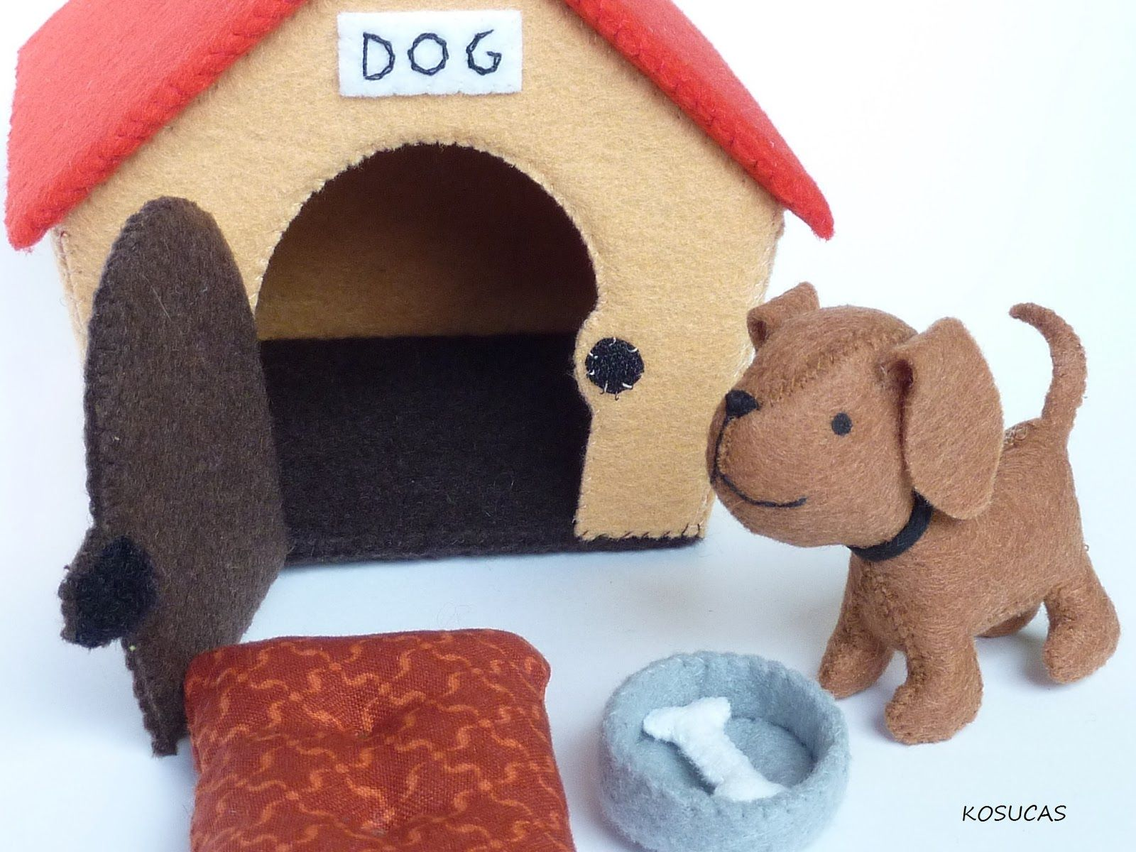 Felt Dog And Dog House Felt Crafts Felt Diy Felt Toys