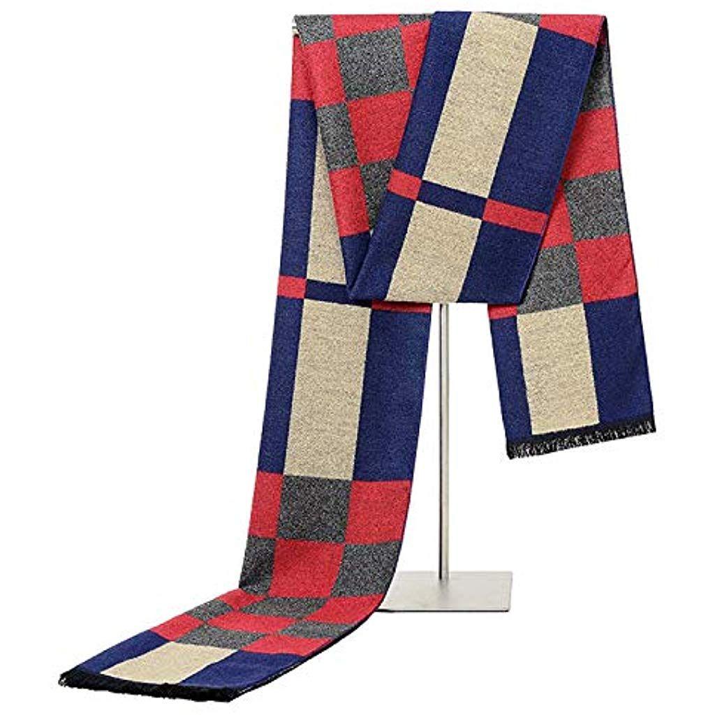 SHENYI-Schal Mens Herbst Winter Warm Stilvolle Schal Striped Grid Halstuch Tartan Schals Paisley Ban...