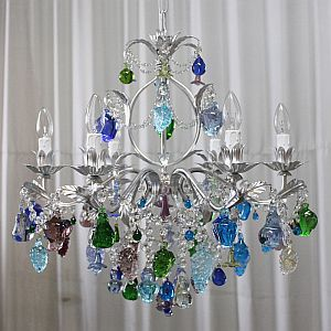 Murano Glass Chandelier With Blue Green And Crystal Fruits