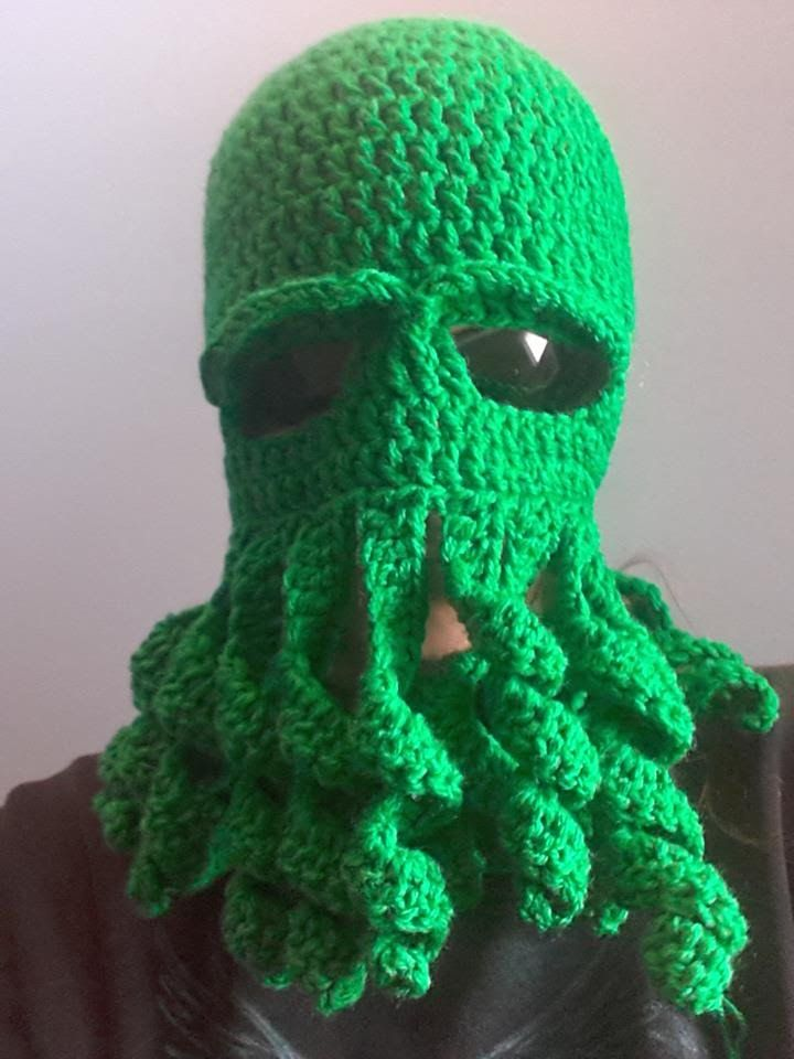 How to crochet an octopus mask. RedHeart yarn 8oz will do with a bit ...