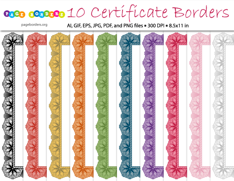 Award certificate border bundle including 10 different colors Get – Certificate Borders for Word