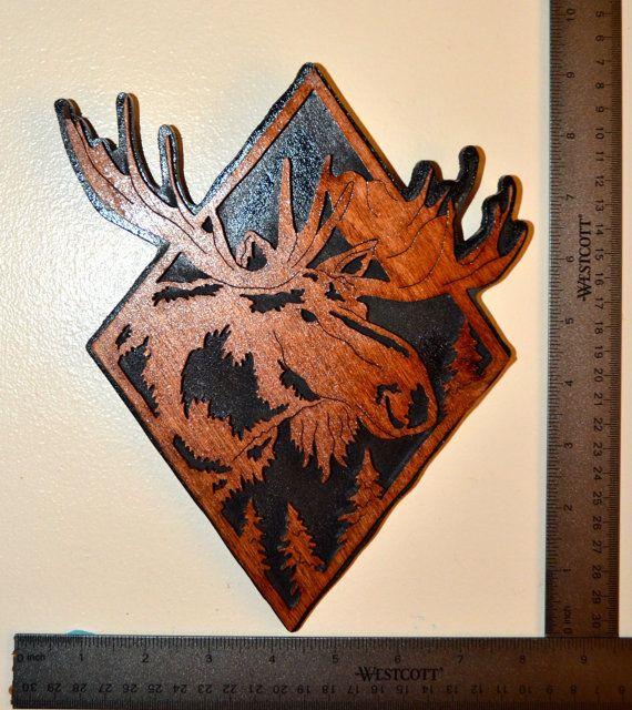 orignal de diamant plaque murale scie chantourner melvin pinterest moose and etsy. Black Bedroom Furniture Sets. Home Design Ideas