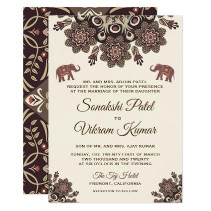 Elegant Vintage Henna Indian Wedding Invitation Traditional