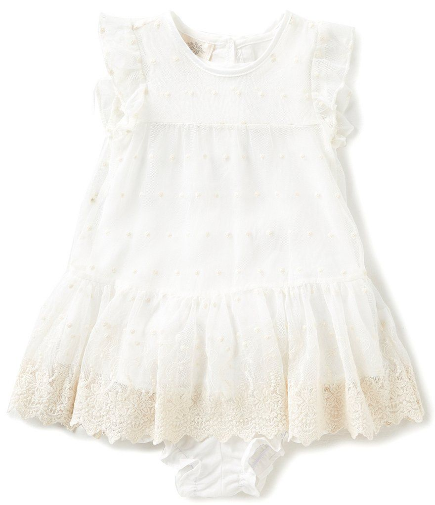 Laura Ashley London Baby Girls Newborn 24 Months Flutter Sleeve Lace