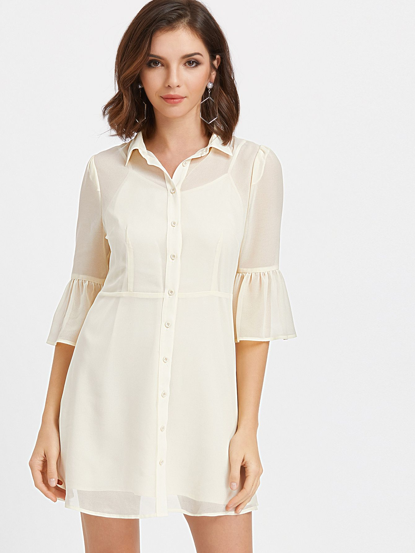 Shop Flute Sleeve Semi Sheer Fit And Flare Shirt Dress Online Shein