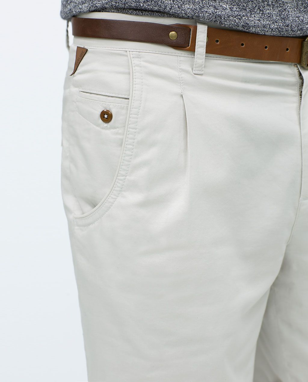 Image 6 of BASIC SHORTS WITH BELT from Zara | Mens pants