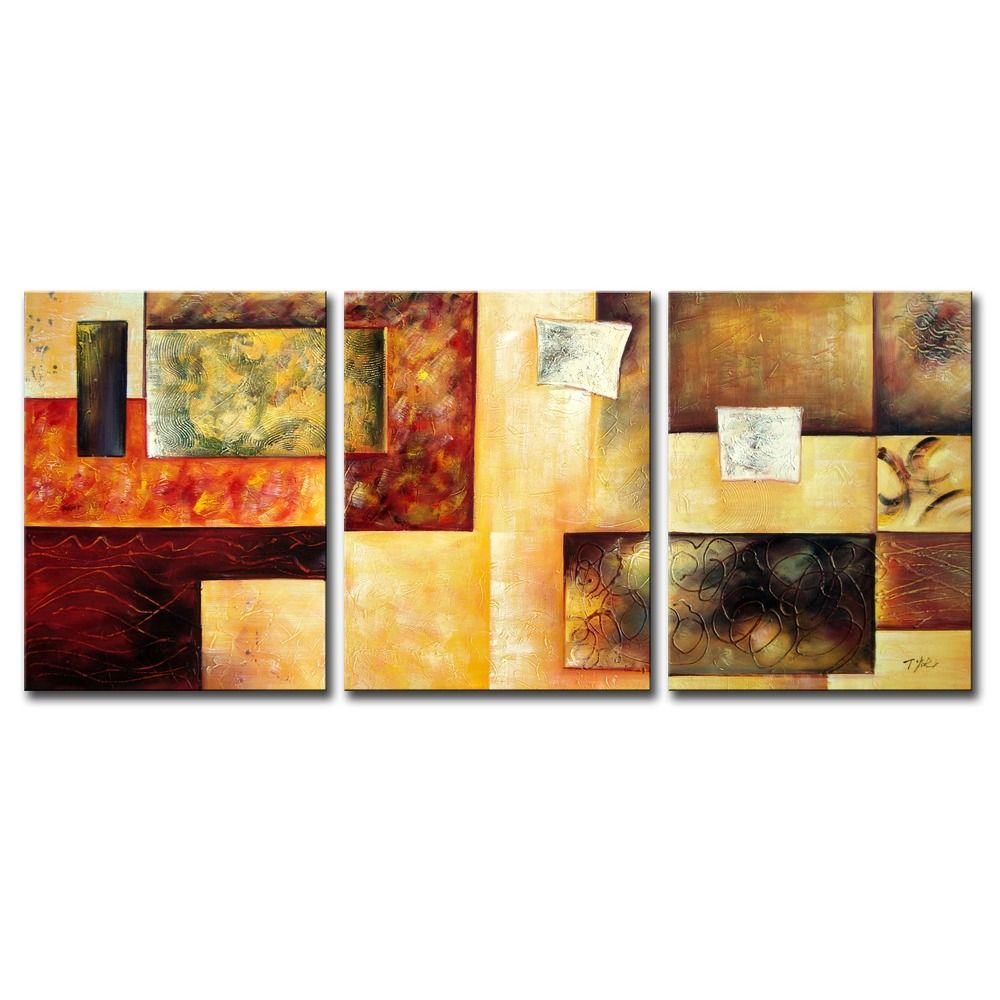 Abstract Multicolor\' Hand-painted 3-piece Oil Painting Set ...