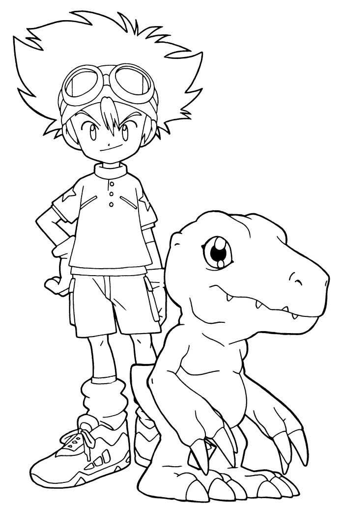 Digimon Taichi With Agumon Coloring Pages Digimon Pinterest - new baby halloween coloring pages