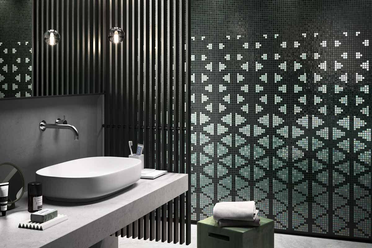 Parete Mosaico Bagno : Mosaicopiu mosaico decor shine through green ambiente parete