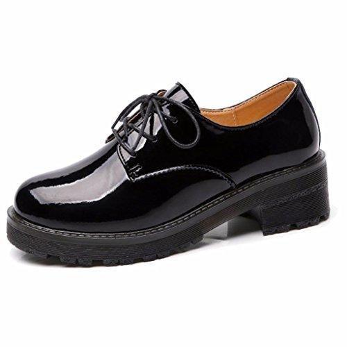 Moonwalker Zapatos de Cuero Mujer Oxford (EUR 36,Negro)