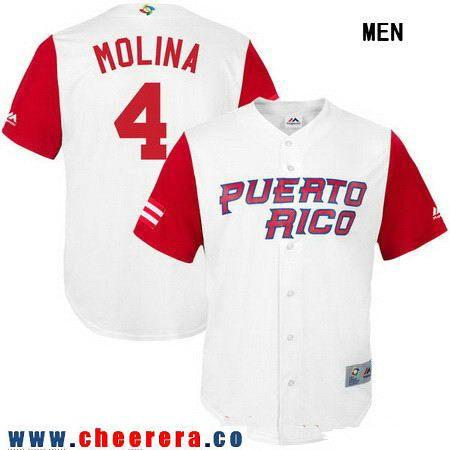 Men's Puerto Rico Baseball #4 Yadier Molina Majestic White 2017 World Baseball Classic Stitched Replica Jersey