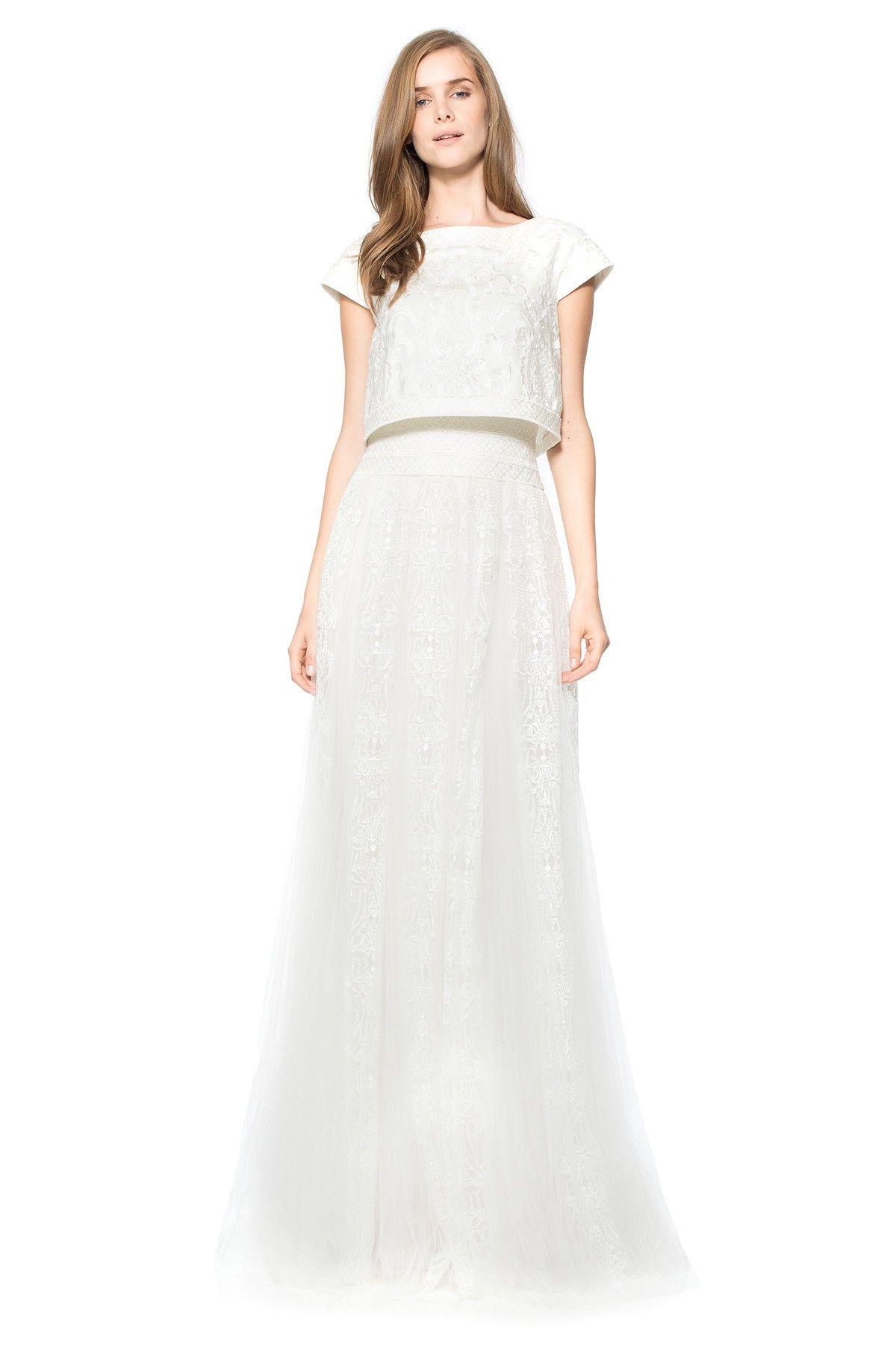 Tadashi shoji wedding guest dresses  Embroidered Tulle Crop Top Full Skirt Gown in Ivory  Tadashi Shoji