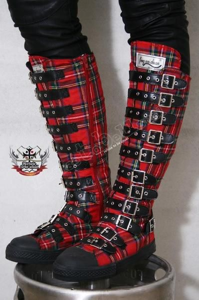 fbd7df16f18 I found  Gothic Punk Steampunk Buckle Strap Gear Knee Boot  on Wish ...
