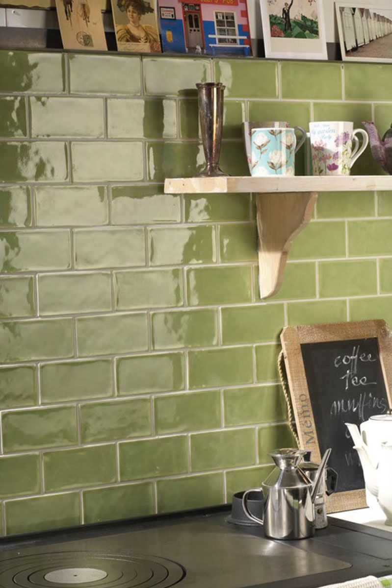 Kitchen Tiles Metro rustic olive green wall tiles, perfect for kitchen splash back