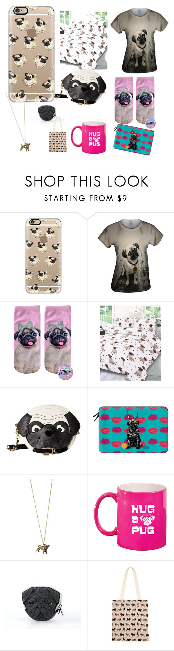 """Pugs pugs pugs"" by officialtanyaburr1 ❤ liked on Polyvore featuring Casetify, Betsey Johnson and Fenella Smith"