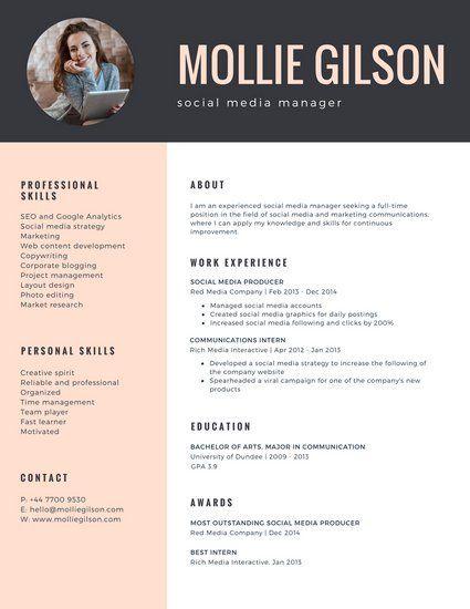 Charcoal And Pink Photo Girl Minimalist Resume Minimalist Resume Template Resume Resume Design Professional