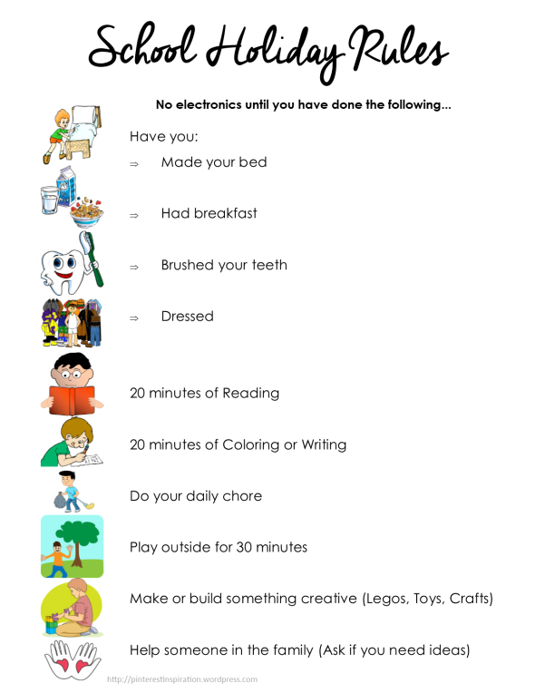 kids summer checklist  school holiday rules  kids have to