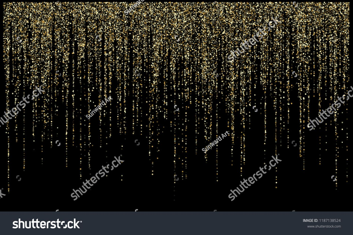 Garland Lights Gold Glitter Hanging Vertical Lines Vector Holiday Background Confetti Dots Rain Vip Gold Ga Holiday Background Light Garland Christmas Tinsel