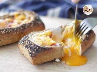 Egg boat de chorizo y cheddar. Barco de huevo, Foto 3