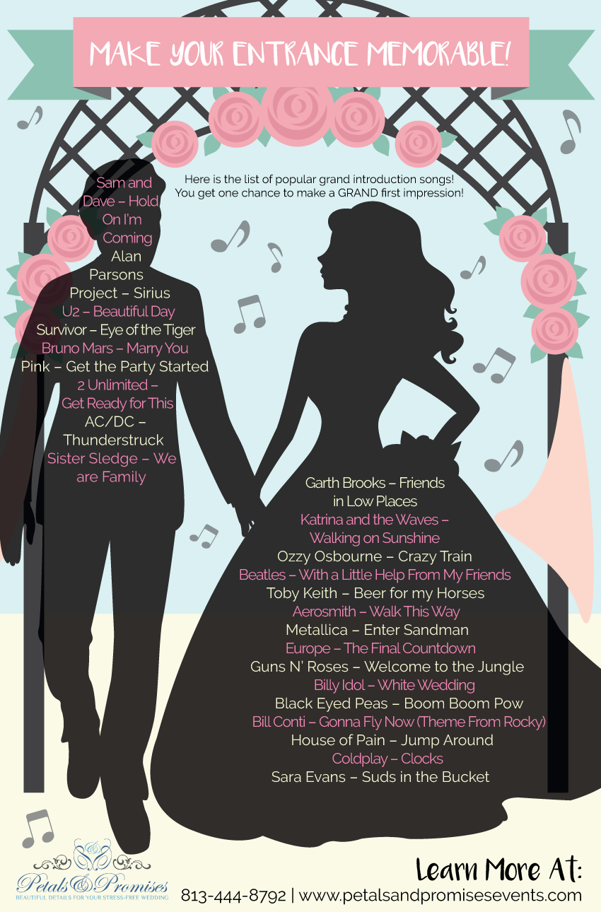 We Ve Taken The Hassle Out Of Finding The Right Song For Your Grand Entrance Here Is The List Of P Wedding Introduction Songs Wedding Songs Best Wedding Songs