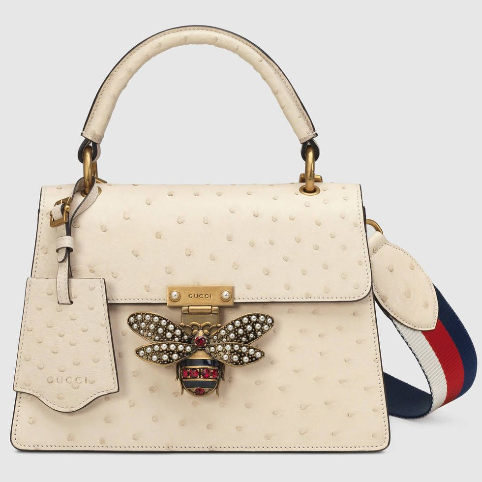 0edc11b390d531 Shop the Queen Margaret ostrich small shoulder bag by Gucci. The Queen  Margaret line mixes