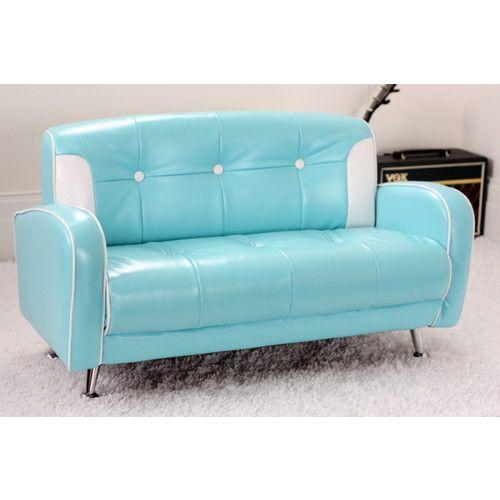 Blue Mini Mustang Retro Kids Sofa