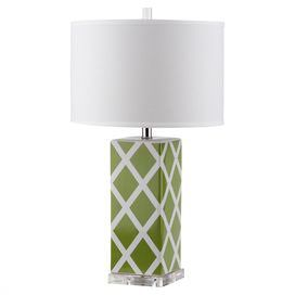 """Cast a stylish glow over your bedside or favorite reading nook with this ceramic table lamp, featuring a diamond motif and crisp drum shade.   Product: Set of 2 table lampsConstruction Material: Ceramic, acrylic and cottonColor: Green, white and silverFeatures: Drum shade Diamond motifAccommodates: (1) CFL bulb - not includedDimensions: 27"""" H x 15"""" Diameter"""