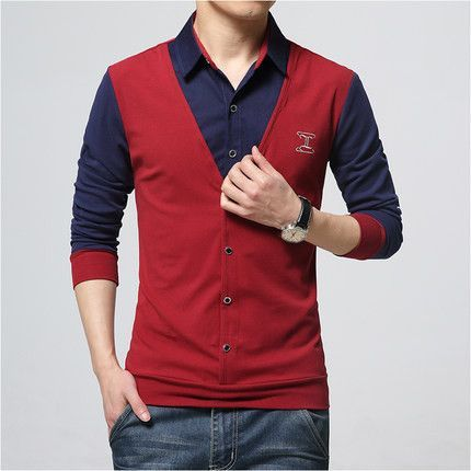 Male spring and autumn long-sleeve T-shirt fake two piece men's clothing basic plus size M-5XL turn-down collar shirt