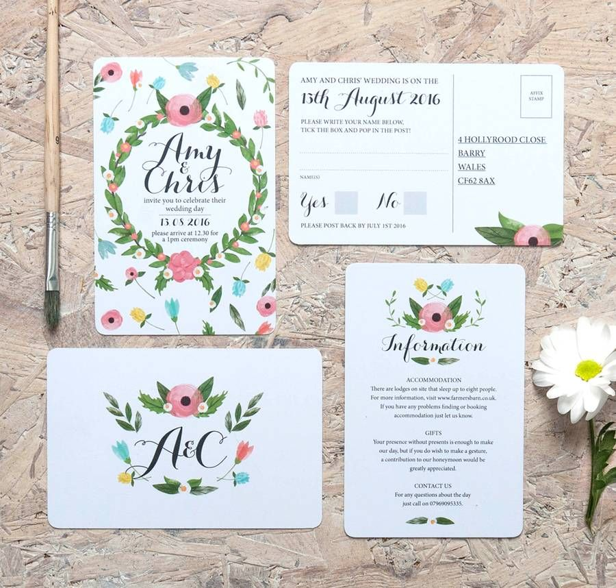 Summer Garden Wedding Invitation, Information panel and RSVP ...