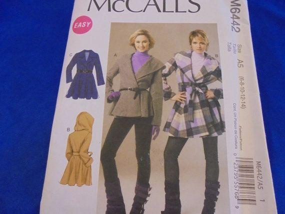 Sz 6-12 MCCALLS 6442 Wrap Coats Fleece Belted by AngieFoundit4U ...