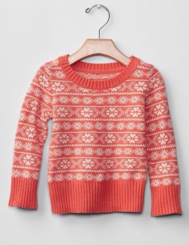 GAP Baby / Toddler Girl 3T - 3 Years NWT Coral Pink Fair Isle Knit ...