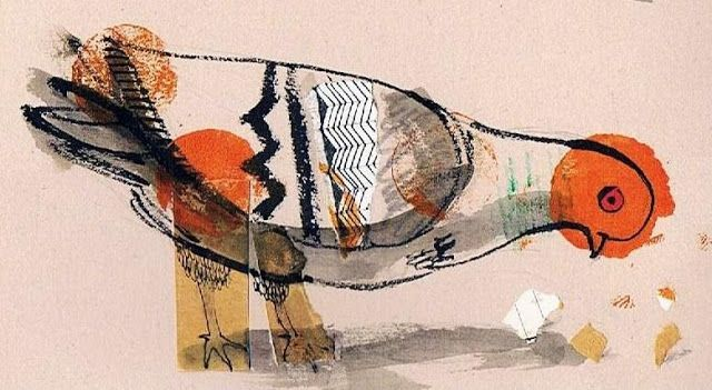 Pigeon collaged drawn and painted by Italian illustrator Massimiliano Di Lauro