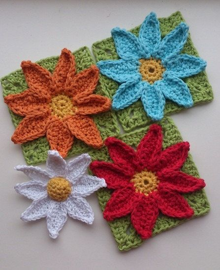 Crochet PATTERN ONLY - Easy Daisy Flower Pattern and Granny Square ...