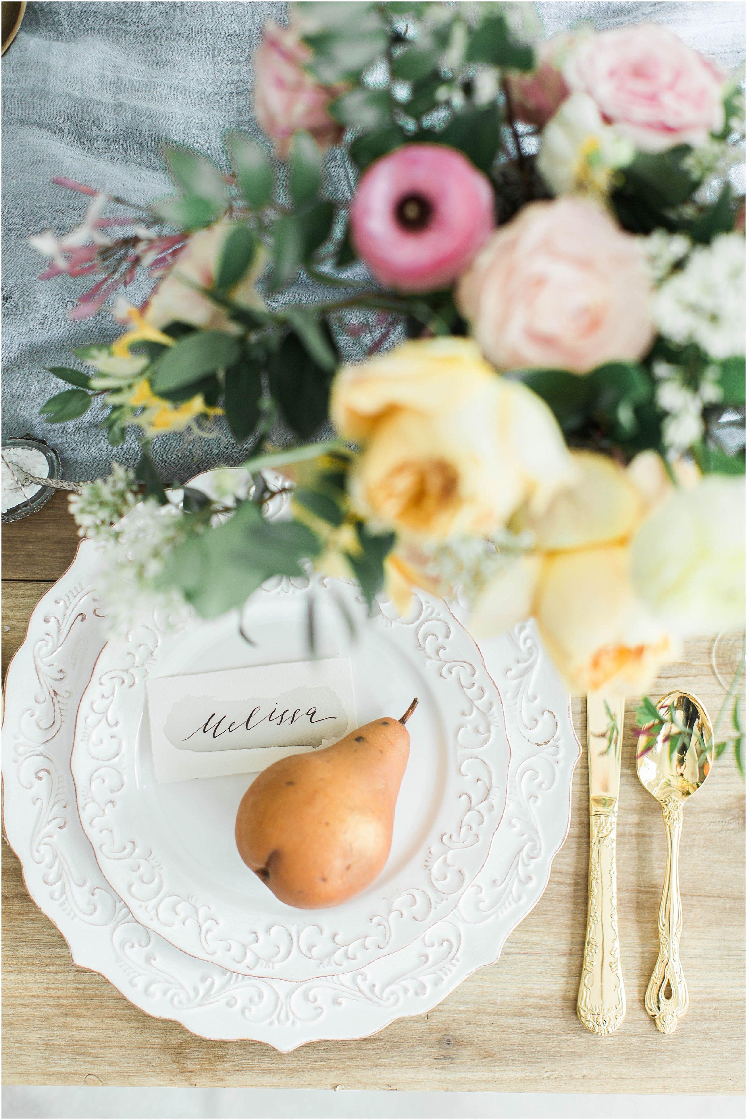 Dusty Blue Orange And Yellow Wedding Centerpiece Inspiration