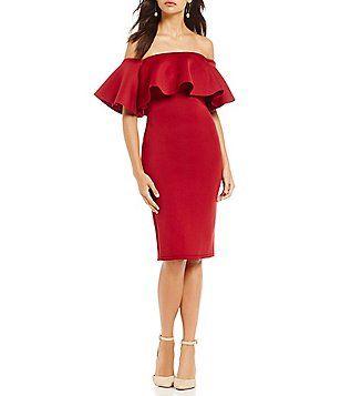 280f76ea13a Gianni Bini Chrissy Off-the-Shoulder Scuba Dress