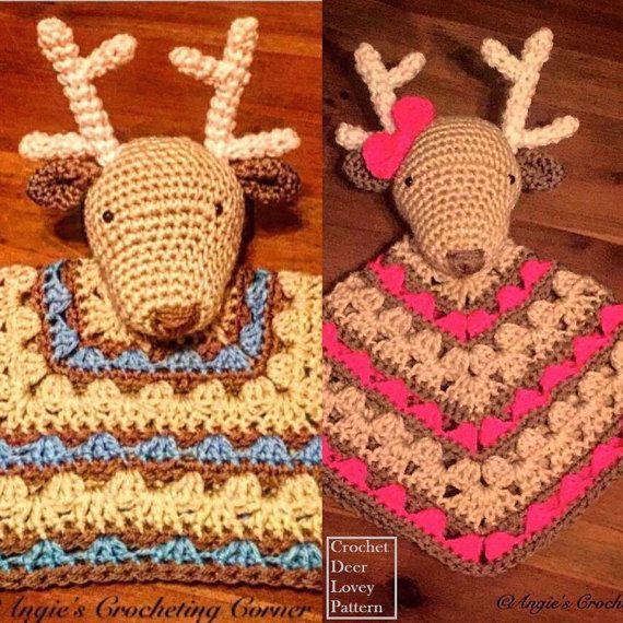 Crochet Deer Lovey Pattern, Deer Security Blanket Pattern, Boy and ...
