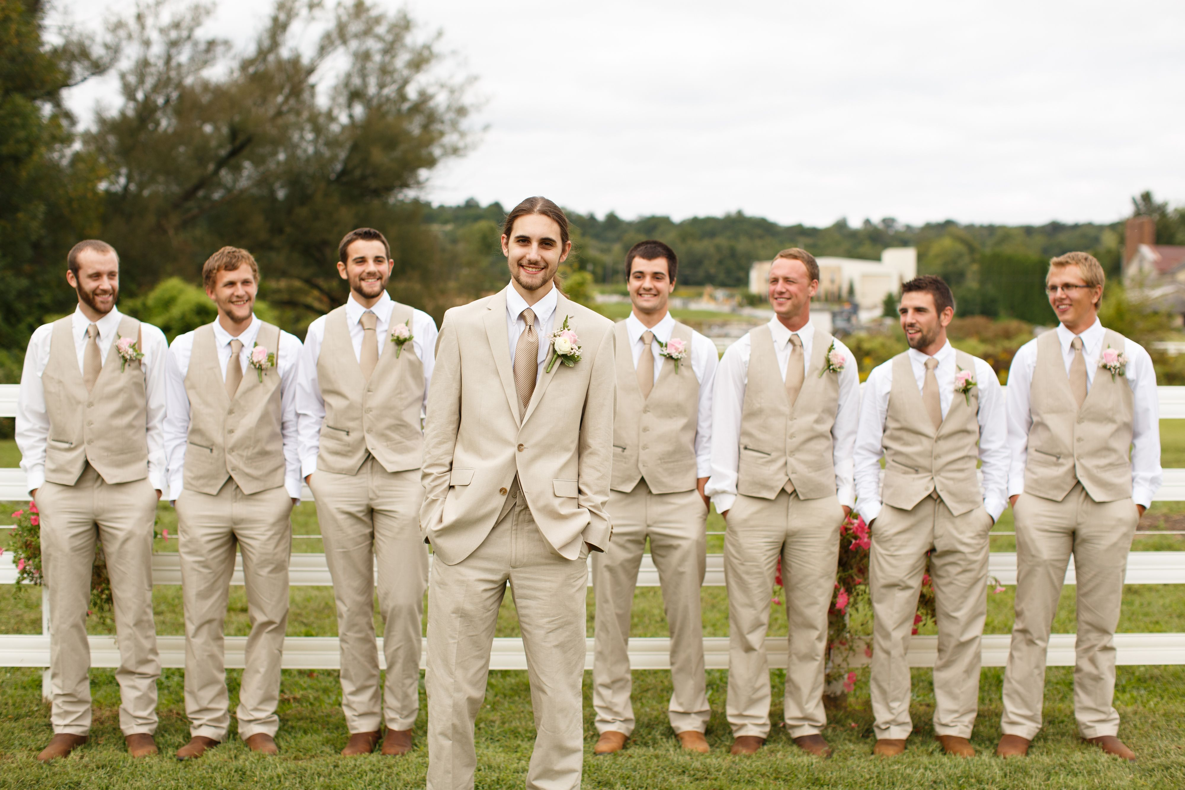 Autumn Evening Wedding Inspiration | Khaki suits, Red vest and ...