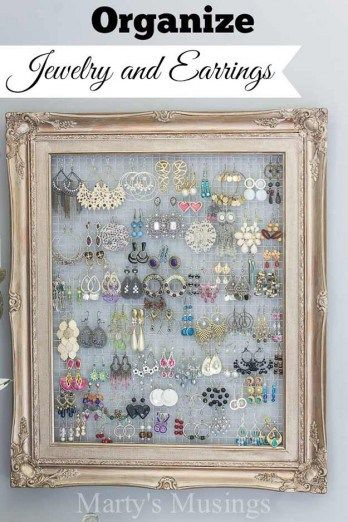 Shabby Chic Decor Ideas Jewellery holder Frame jewelry organizer