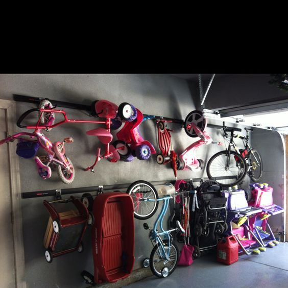 Stroller Bike Ride On Toy Storage Solution We Installed The Rubbermaid Fast