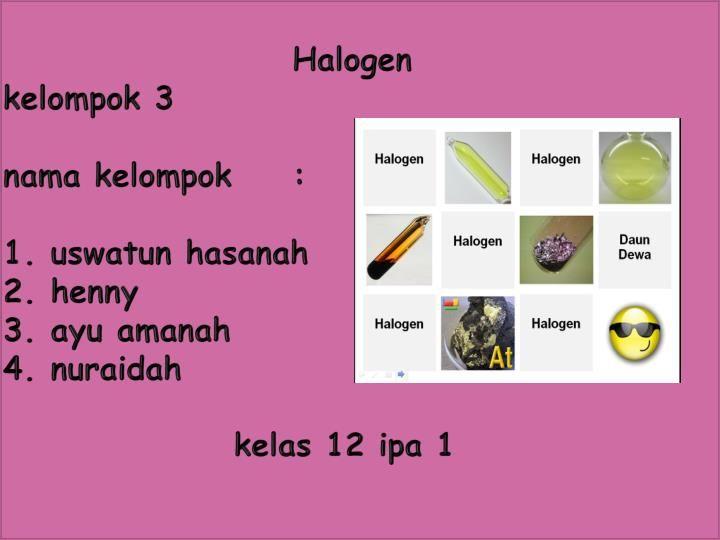 Halogen kelompok 3 nama kelompok: 1. uswatun hasanah 2. henny 3. ayu amanah 4. nuraidah  kelas 12 ipa 1.