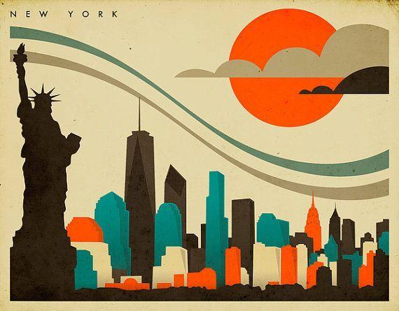 Art Deco Poster New York.New York Skyline Giclee Fine Art Print Art Deco New York Poster