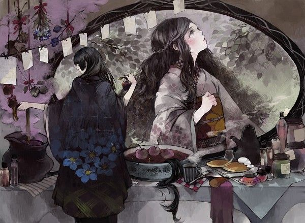 Tags: Anime, Tea, Mirror, Snow White and the Seven Dwarfs, Cup, Apple, Bread