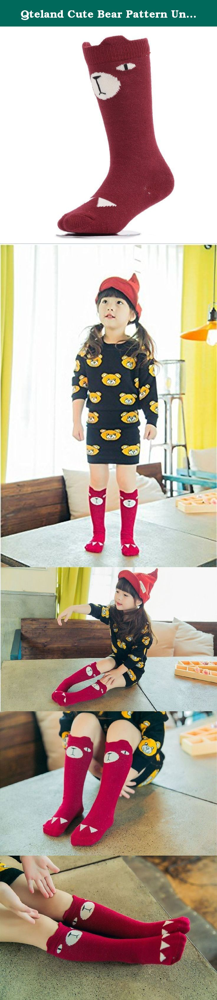 Qteland Cute Bear Pattern Unisex-baby Knee High Socks Tube socks for Kids 2-pack. Qteland Cotton high knee socks for Babies are an adorable and fashion item dress up your little one. Look for all of our adorable high knee socks! Available in stripes, Geometry,fox,cat,Mickey Mouse,bear, rabbit and so on. A material composition for comfort these socks are made of 75% cotton, 20% polyester, and 5% spandex for a snug, comfortable fit. Three size for your choose Size S: 0-12 mo, length of...