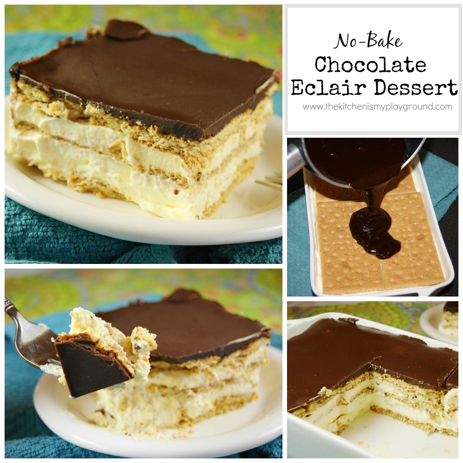 No-Bake Chocolate Eclair Dessert | Chocolate eclairs, Eclairs and ...