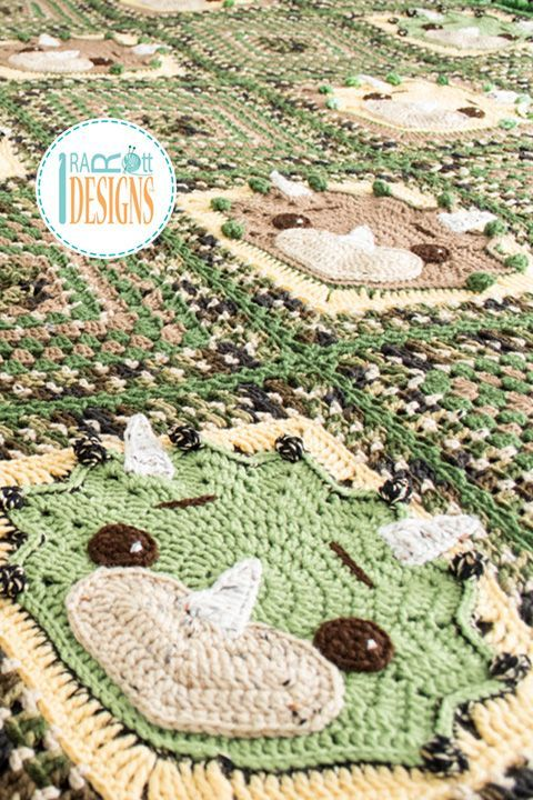 Tops the Triceratops Dino Blanket PDF Crochet Pattern   Deckchen ...