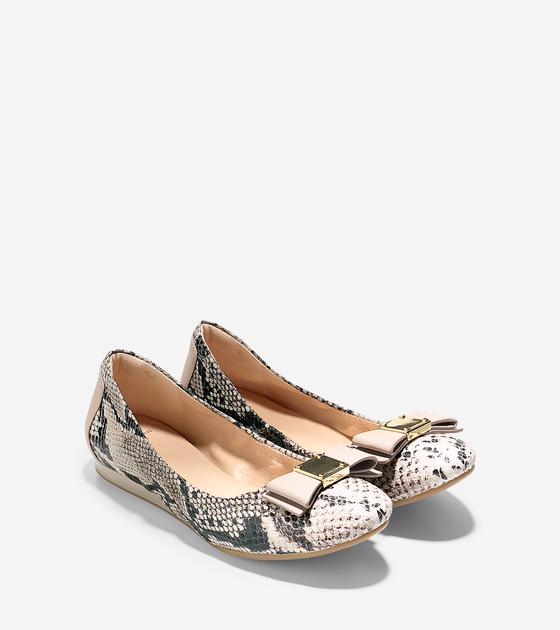 7fadac0eac9 Cole Haan Tali Bow Ballet in Natural Roccia Snake Print ( 178)