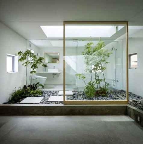 Open Concept Zen Bathroom.