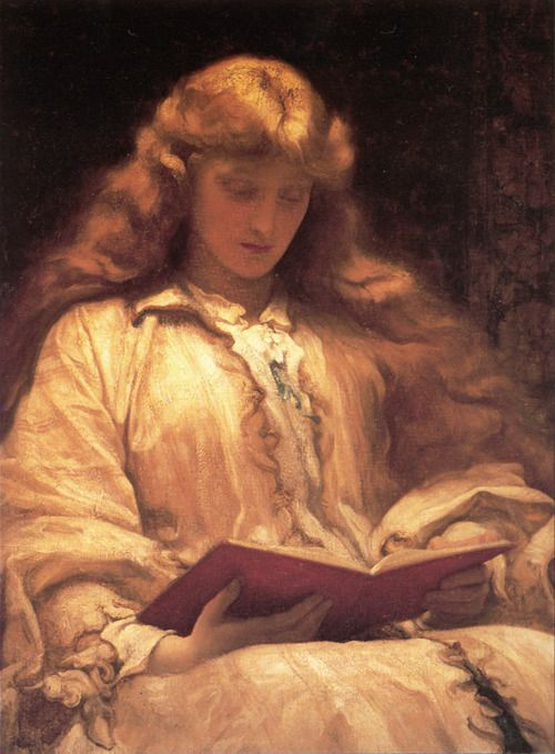 """The Girl With Yellow Hair http://en.wikipedia.org/wiki/Edmund_Leighton """"Books are the quietest and most constant of friends; they are the most accessible and wisest of counselors, and the most patient of teachers."""" ― Charles William Eliot"""